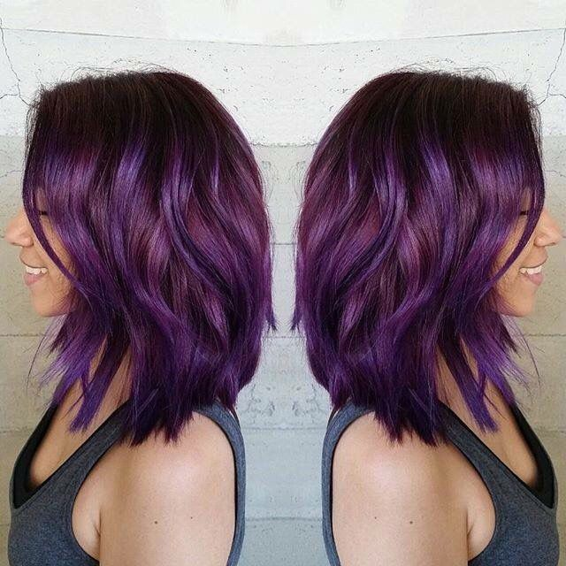 Purple Violet Red Cherry Pink Bright Hair Colour Color Coloured Colored Fire Style Curls Haircut Lilac Lavender Short Hair Color Bright Hair Colors Bright Hair