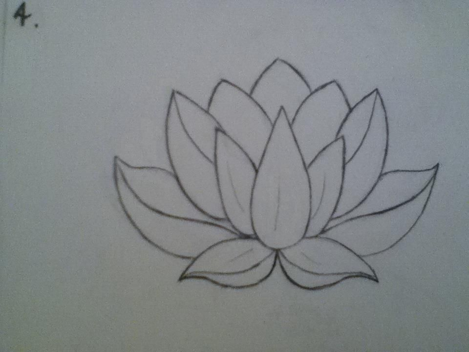 Black Line Flower Drawing : Lotus flower drawing sketch at getdrawings free for personal