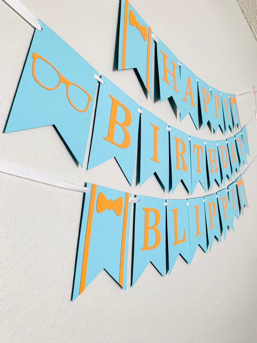 Blippi Birthday Banner Blue Orange Blippi First Birthday First