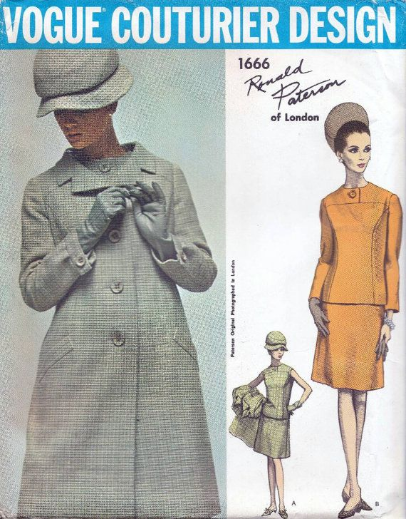 60s Vogue couturier design 1666, Vogue sewing patterns, coat and ...