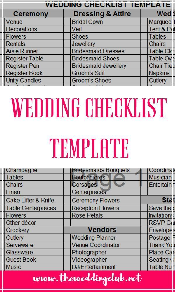 Printable Wedding Guest List Template Endearing Wedding Checklist Template  A Free Excel File That You Can Easily .