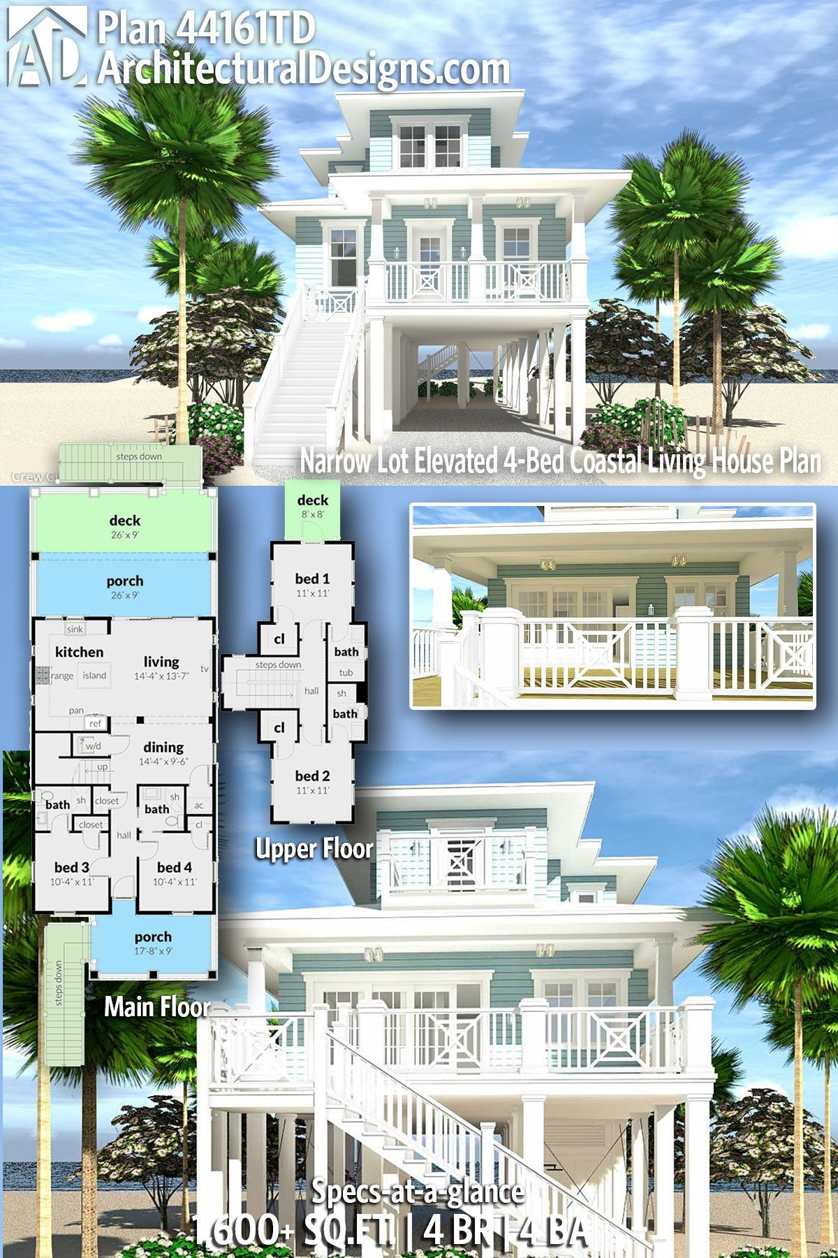 Plan 44161td Narrow Lot Elevated 4 Bed Coastal Living House Plan Beach House Floor Plans Beach House Plans Beach House Exterior