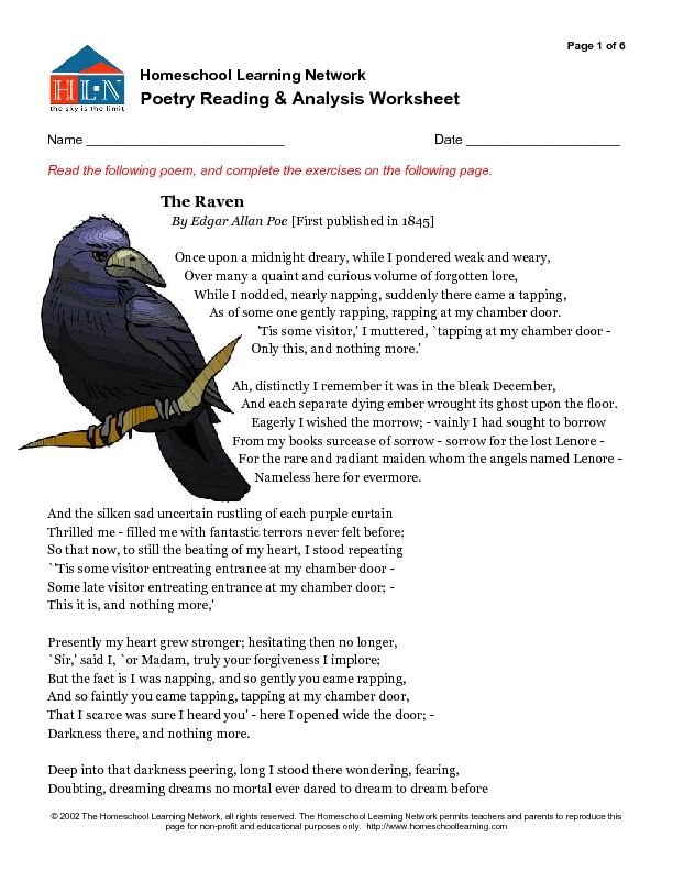 poetry reading and analysis worksheet the raven worksheet  the raven analysis essay the raven poem analysis essay