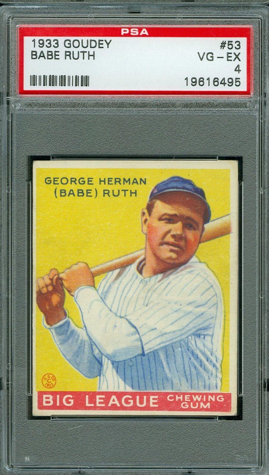 1933 goudey baseball 53 babe ruth psa 4 hof baberuth