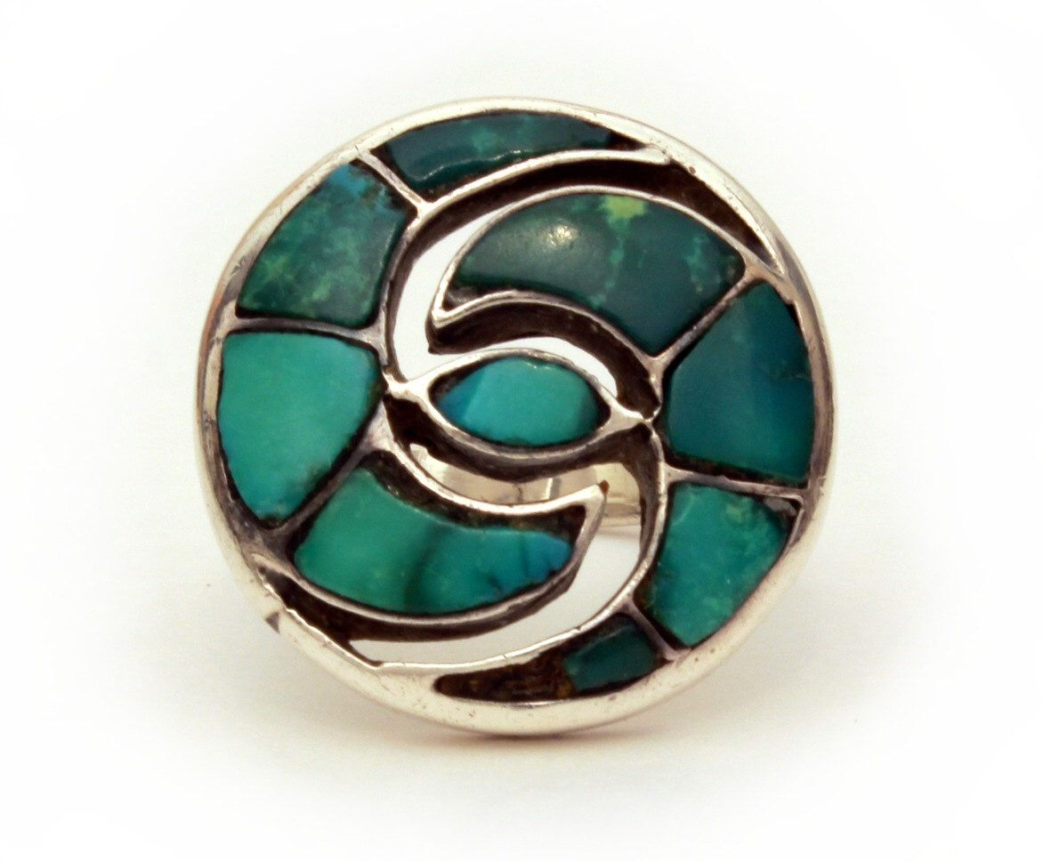 Green Turquoise Sterling Ring Native American Indian Jewelry