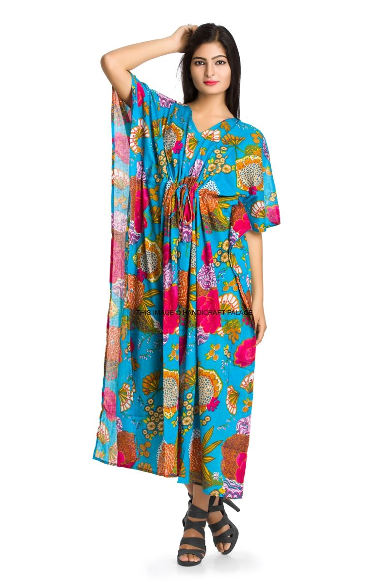 Big floral print kaftan dress hippy boho maxi plus size women caftan