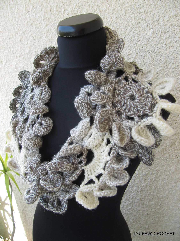 Crochet+Scarves   Crochet Scarf, Unique Crochet Neckwarmer, Gorgeous ...