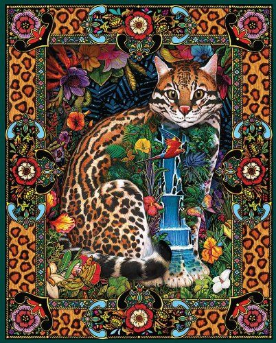 STRETCHED NEEDLEPOINT WOVEN PAINTING TREE OF CATS