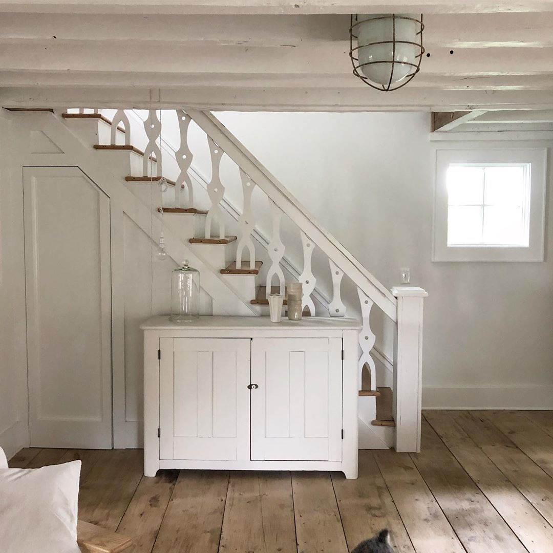 White Flower Farmhouse On Instagram The Secret Door To The Cellar Just Noticed Ottotheschnauzer Tiny Tail In Th In 2020 Secret Door Cottage Interiors White Rooms