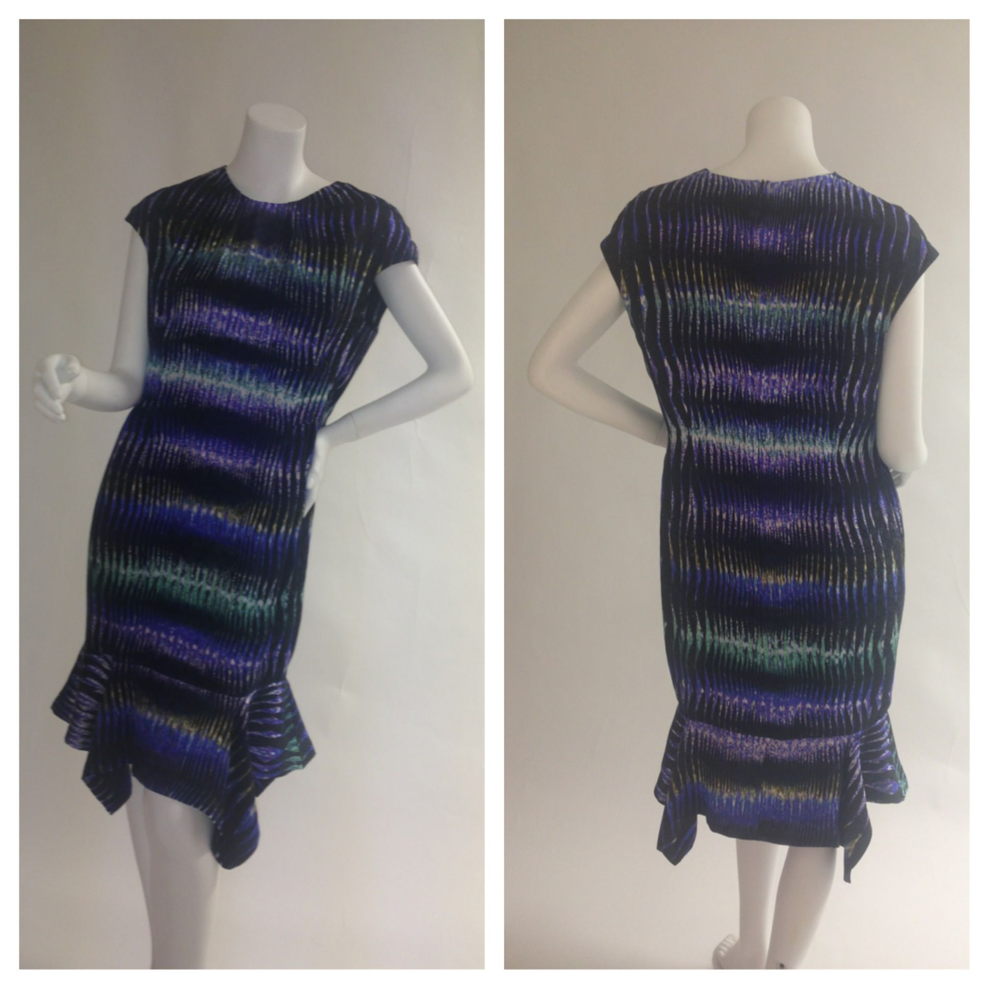 This gorgeous dress is from the (authentic) Peter Pilotto collection. The vibrant pattern and luxurious fabrics used to create this masterpiece are a true testament of his work. Size: US 10 Glamdrobe's price: $395  #peterpilotto #dress #designer #luxury #patterns #elegant #instaglam #glamdrobe
