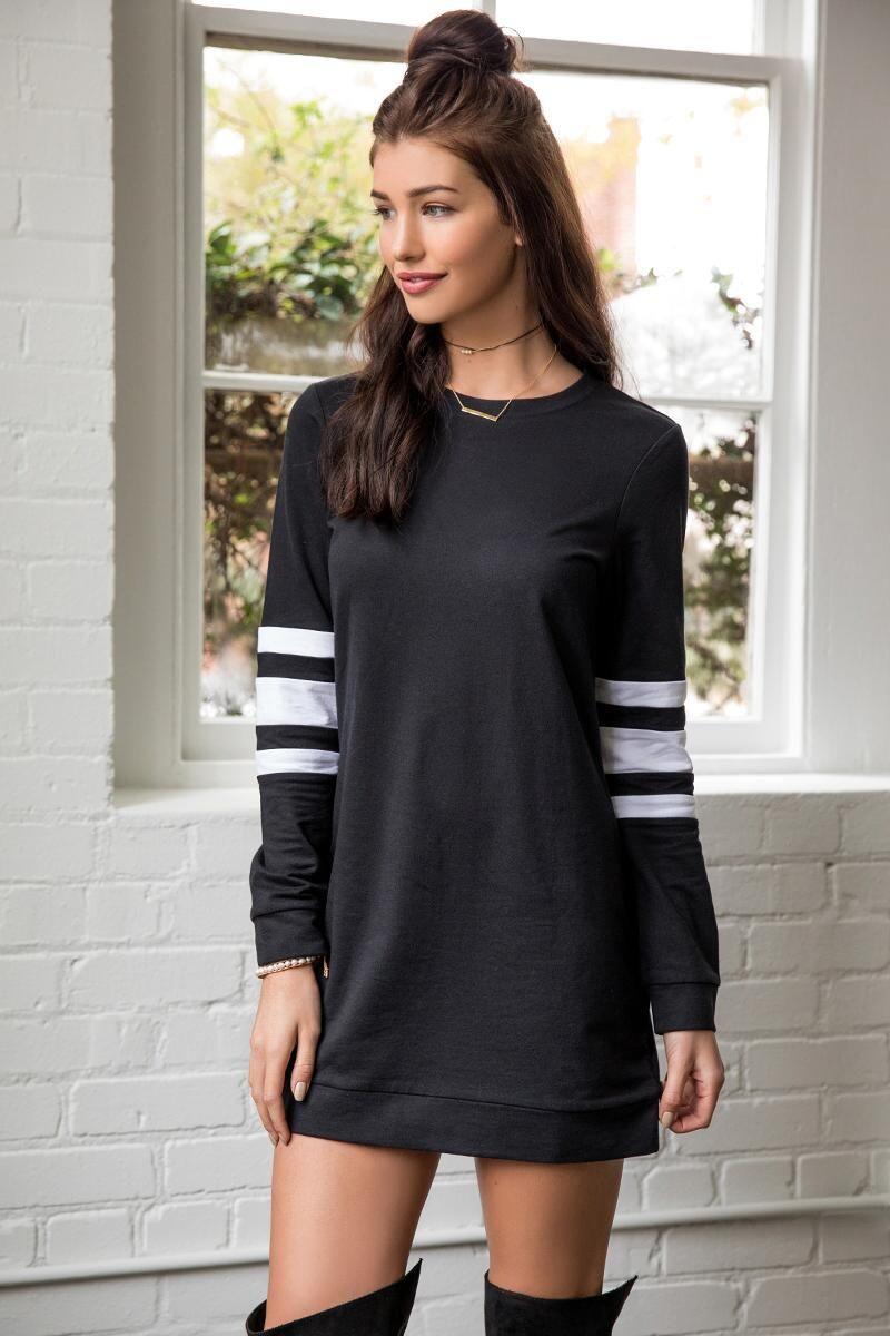 Eva Striped Sweatshirt Dress