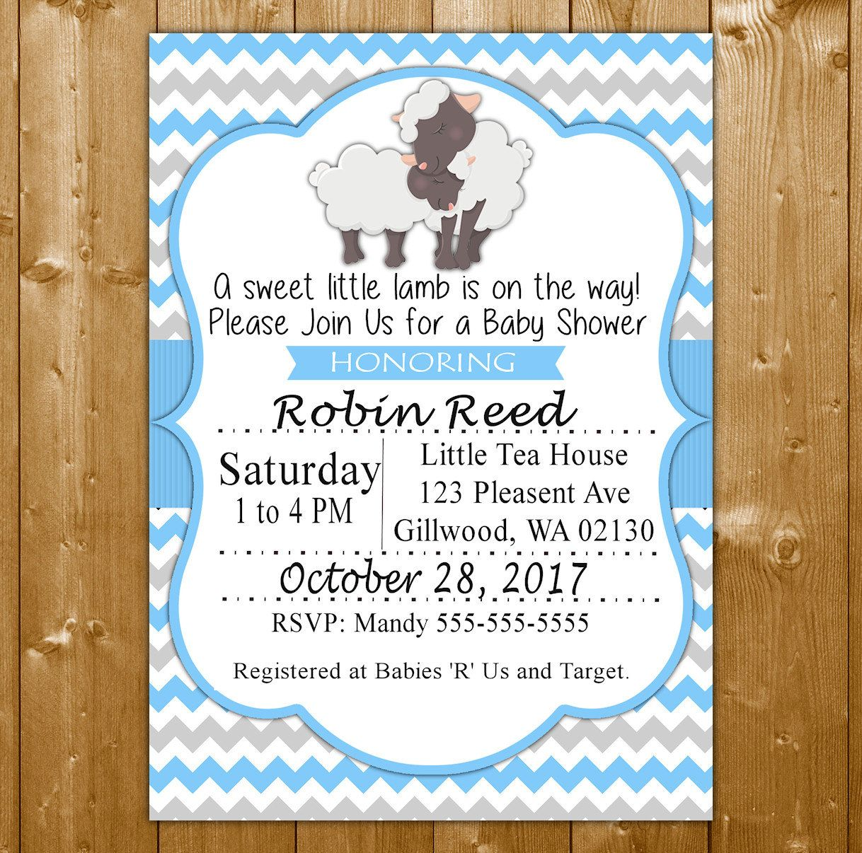 Lamb Baby Shower Invitation - Baby Shower Invitation for a Boy ...