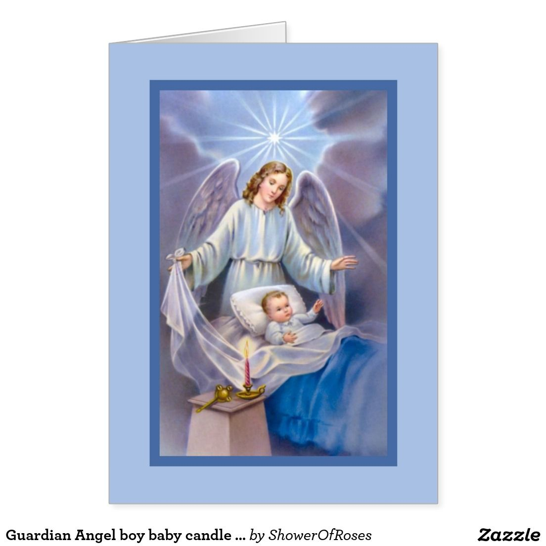 Guardian angel boy baby candle heavens blue