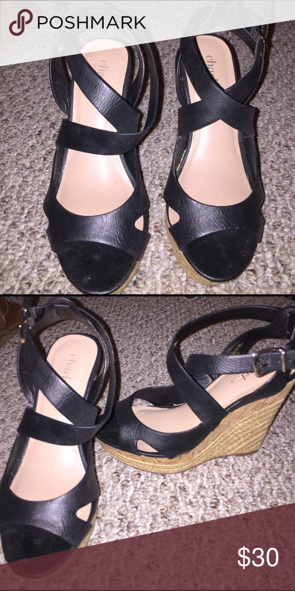 Black wedge sandal These are awesome strappy black wedges. They are new. Too high for me to wear to chase the children! New and never worn. Adjustable strap. Charles David Shoes Wedges