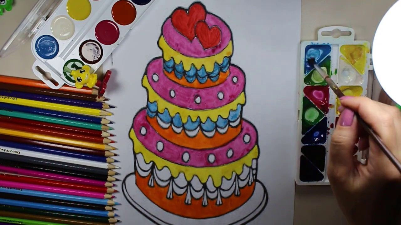 Learn To Draw And Color For Kids Birthday Cake Coloring Pages Coloring For Kids Birthday Cake Kids Kids Birthday