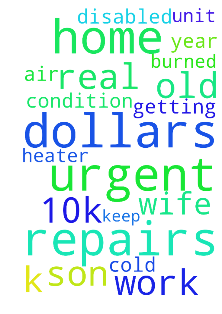 We are in urgent need of 10k dollars of home repairs - We are in urgent need of 10k dollars of home repairs . The Air condition heater unit burned up . Its getting real cold and I have a 16 year old son and a disabled wife , out of work too. Please keep me in prayer . Posted at: https://prayerrequest.com/t/3Hc #pray #prayer #request #prayerrequest