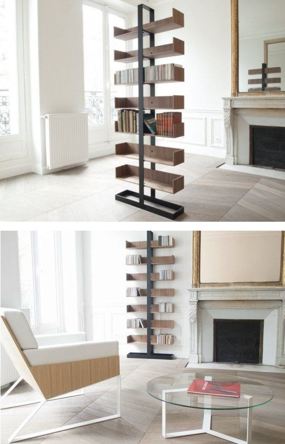 Freestanding Divider Wooden #bookcase SÉVERIN By Alex De Rouvray Design Pictures