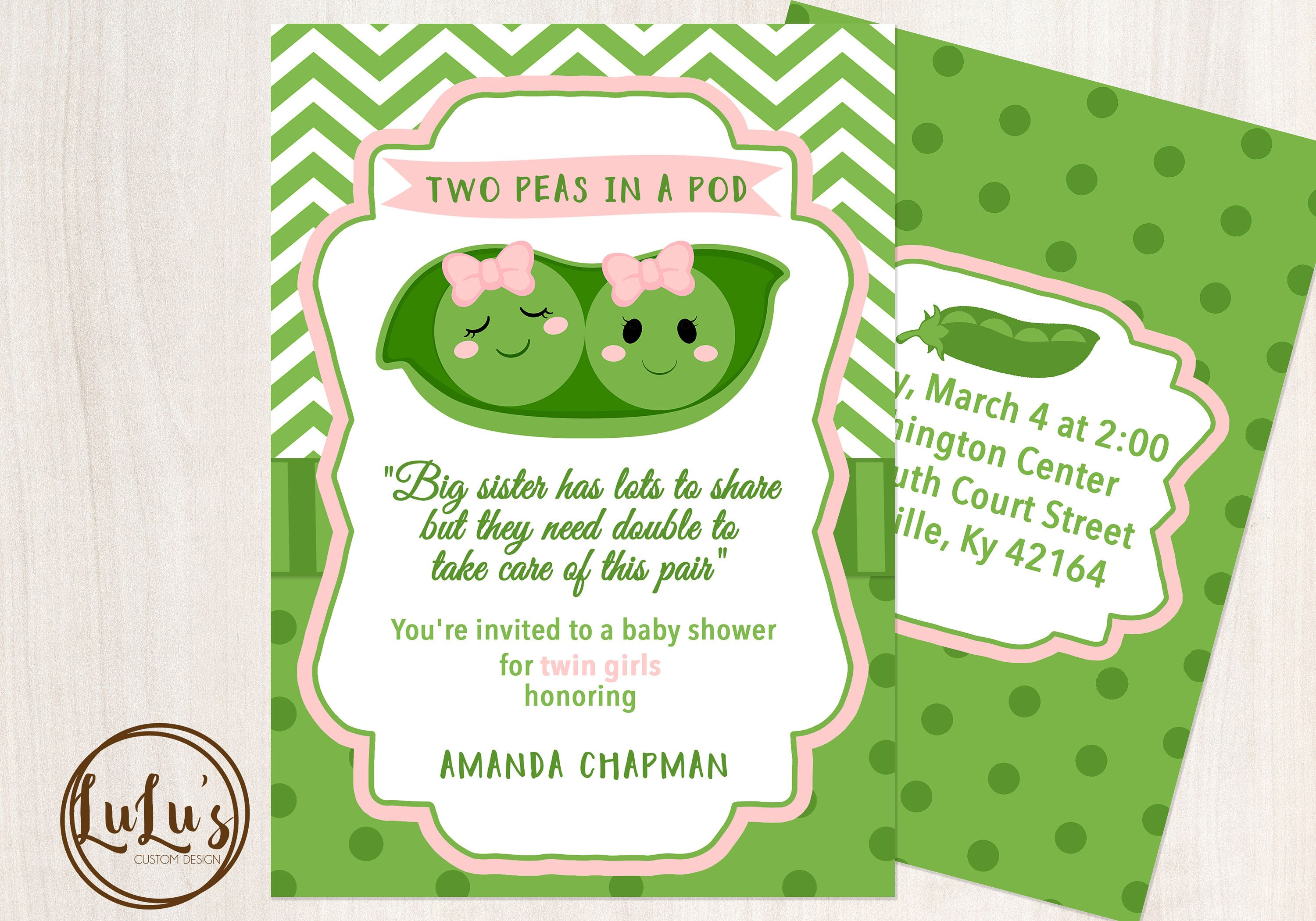 Two Peas in a Pod Baby Shower Invitation - Baby Shower Invitation ...