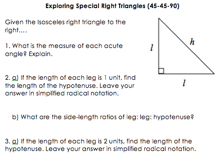 The Secondary Classroom Can Be Fun Too Teaching Geometry Right Triangle Special Right Triangle