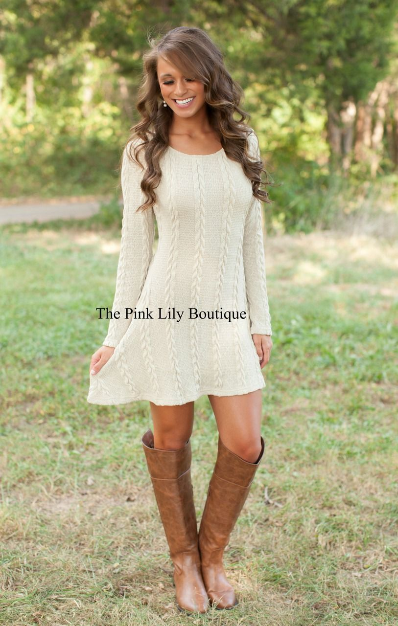 Pink sweater dress outfit  Leave You Breathless Dress Taupe  The Pink Lily Boutique  Moda