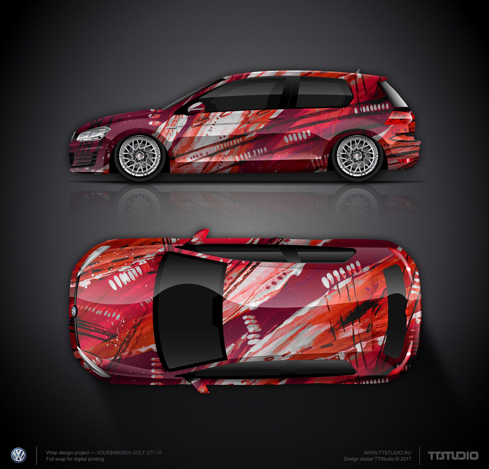 Auto Good Image: Design Concept #7 Red Art Car For VW Golf GTI