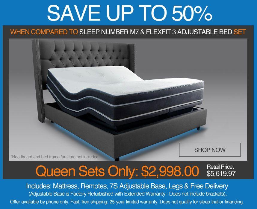 Save Up To 50 Over Sleep Number M7 Number Bed Mattress And Flexfit 3 Adjustable Bed Set Adjustable Beds Beds For Sale Bed