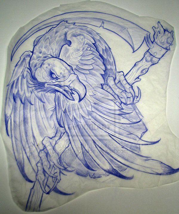 Vulture With Scythe By Joshdixart On Deviantart Animal Tattoos Weird Tattoos Tattoos