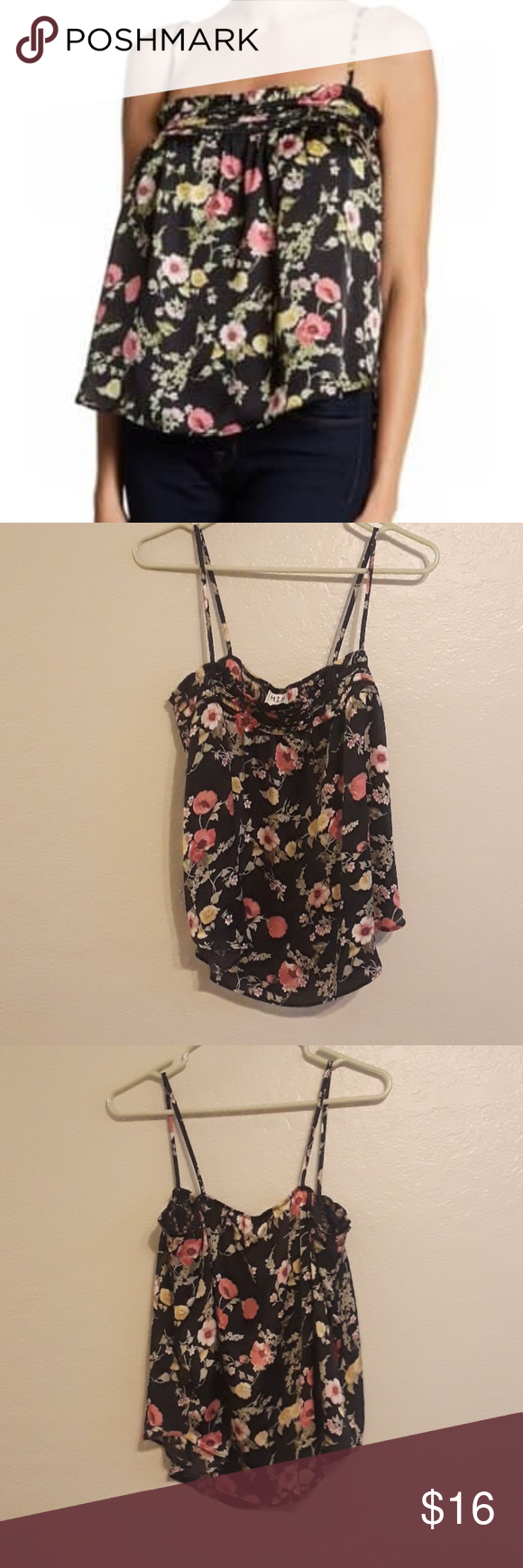 NWT H.I.P black floral top Very cute top for summer