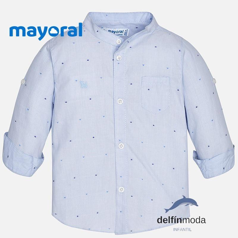 2faa2fa07 Camisa de niño bebe MAYORAL manga larga celeste rayas