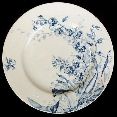 assiette java lun ville kg 19e fleur plante exotique cama eu bleu french ironstone plate. Black Bedroom Furniture Sets. Home Design Ideas