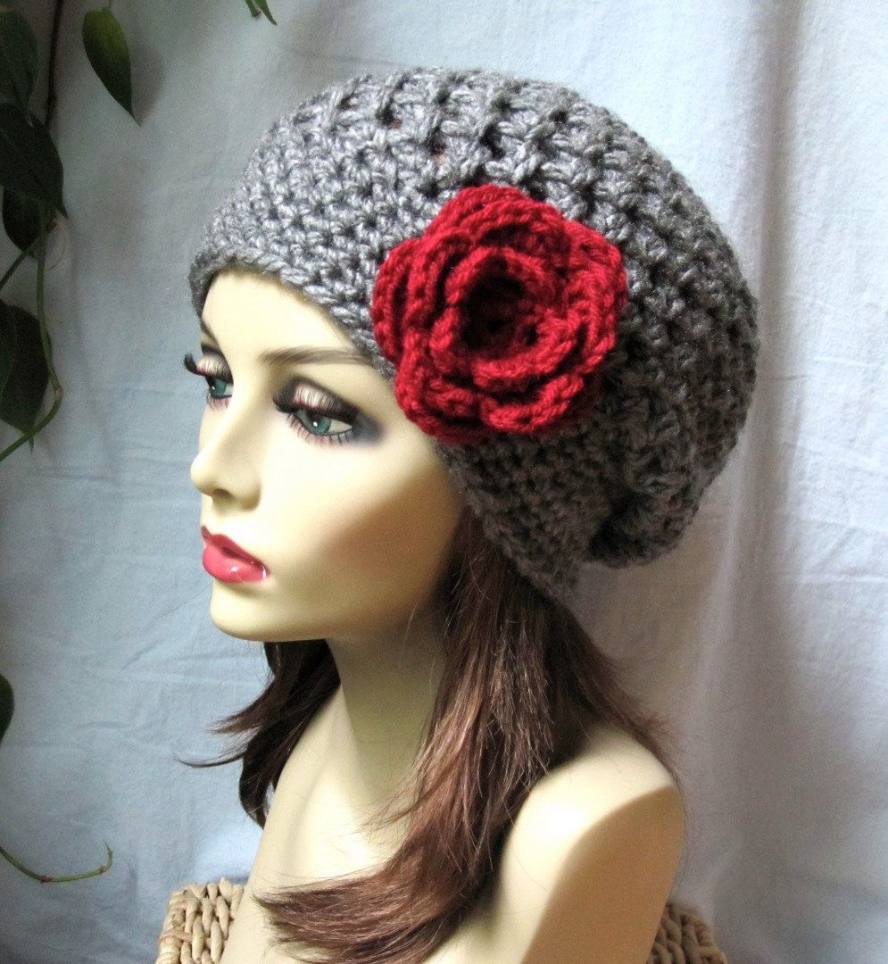 Charcoal Grey Womens Hat, Slouchy Beret, Red Rose Crochet Flower, Chunky, Teens, Winter, Birthday Gifts, Gifts for Her JE407SBTF2. $35.00, via Etsy.