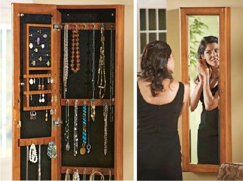 Mueble espejo colgar collares pinterest pendientes - Como colgar collares ...