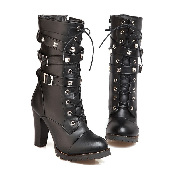 9018e6cad91 Winter Motorcycle Boots Women s Chunky Heel Platform Leather Sexy Mid-calf Boots  Plus Size 34-47