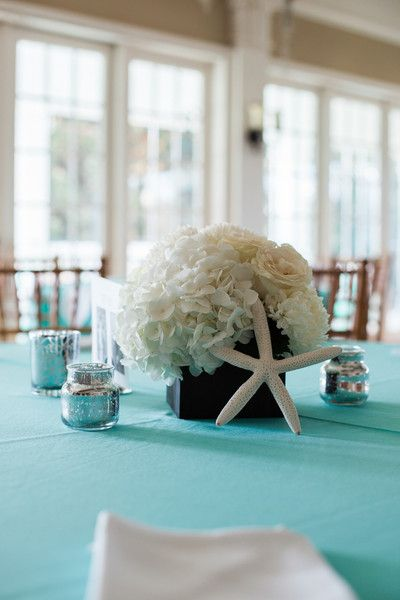 Preppy Aqua South Carolina Wedding Wedding Centerpieces