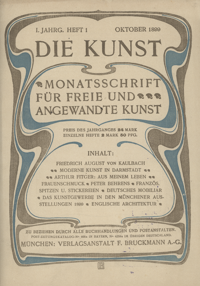 """PETER BEHRENS Art Nouveau cover illustration for """"Die Kunst"""" monthly fine and applied art journal, Munich, first year, first issue, Oct. 1899, artist PB mark at bottom"""