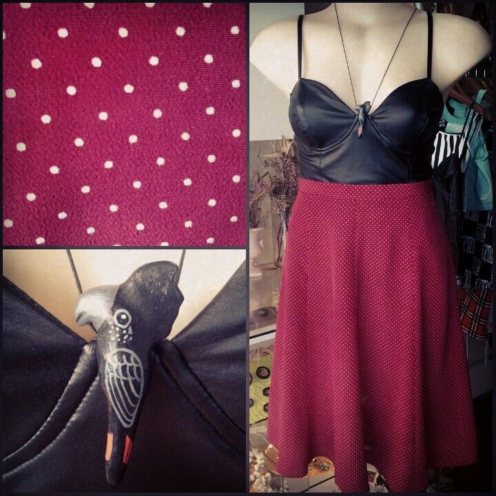 #minkpink #brightest #stars #black  #pleather #bodysuit $49 #vintage #scarlet #polka #dot #panelled #skirt $35 @A Story Of ... #redtaill #blackcockatoo #whistle #necklace $20 #red #sexy #leotard #bird #cockatoo #avian #feathers #crest