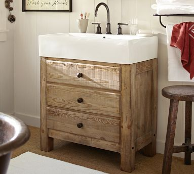 Elegant Mason Reclaimed Wood Single Sink Console   Wax Pine Finish #potterybarn I  So Want This