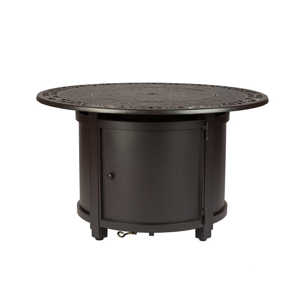 Fire Sense Longpoint 42 In In X 24 In In Round Aluminum Lpg Fire Pit Table In Mocha 62410 The Home Depot Fire Sense Fire Pit Table Propane Fire Pit