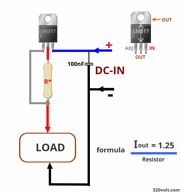 Circuito Lm317 : Lm current calculator electronics projects circuits