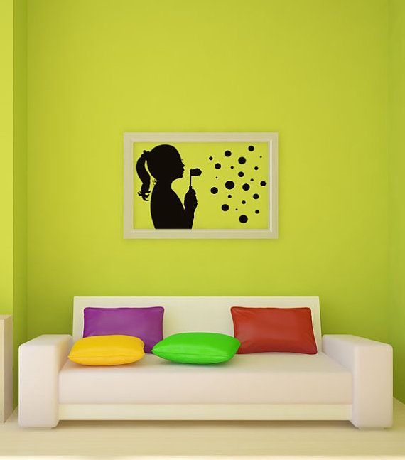 Girl Blowing Bubbles, Silhouette Decor, Bubble, Wall Decal, Bedroom ...