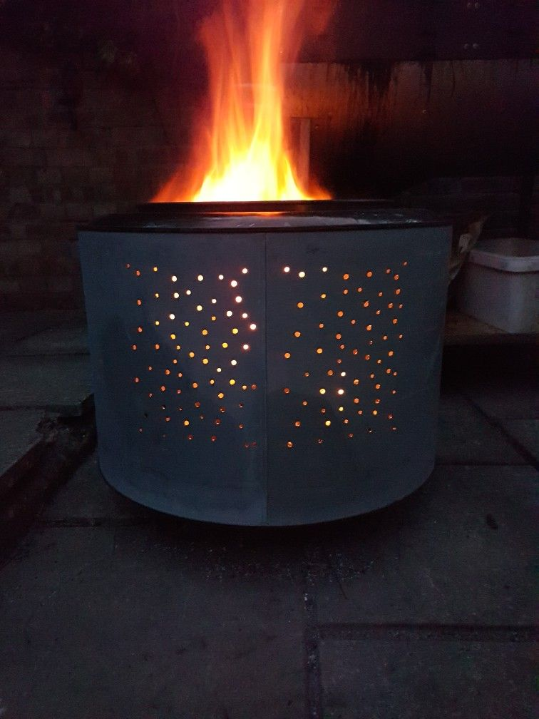 Tumble dryer drum converted into a fire pit. | Tumble ...