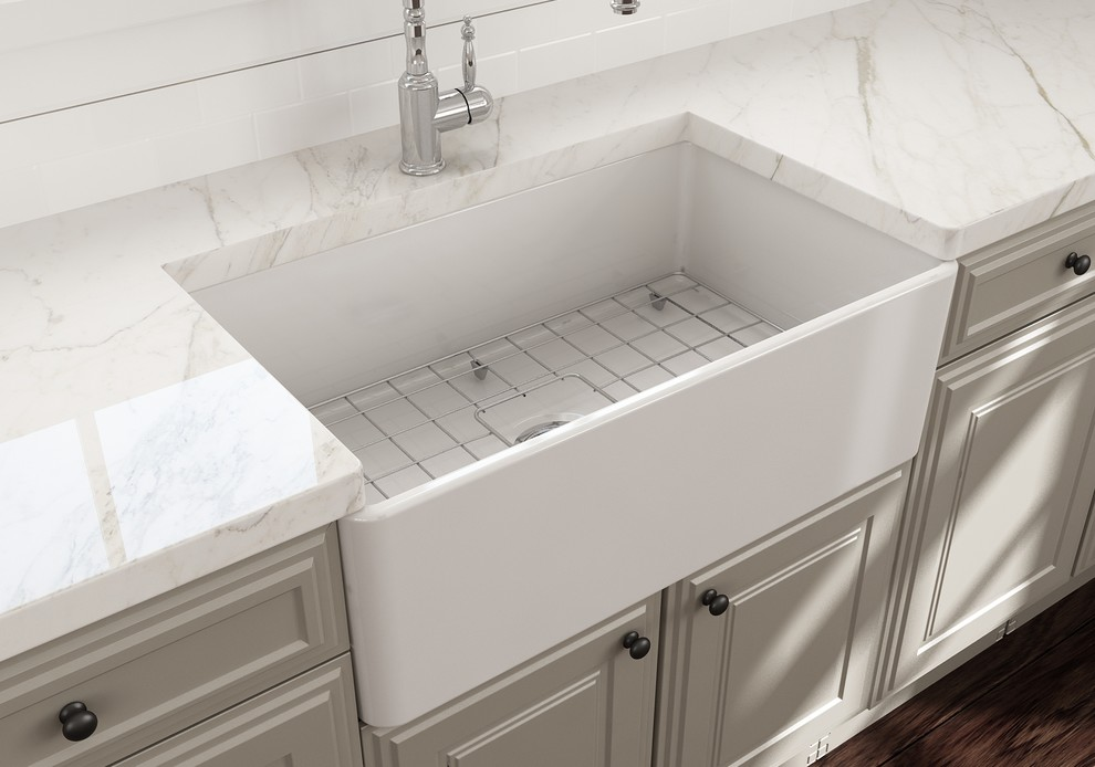 Classico Farmhouse Kitchen Sink With Grid And Strainer 30