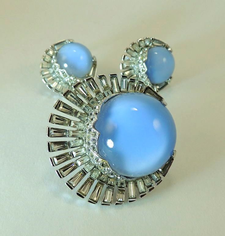 Art Deco Moonstone Brooch & Earrings.