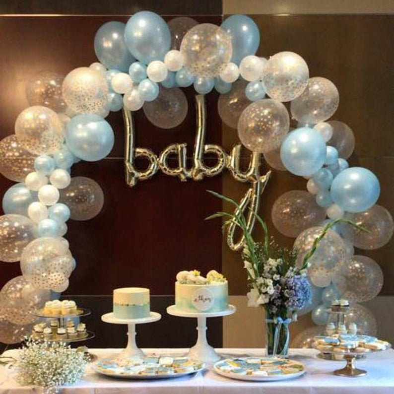 Balloon Garland Diy Kit Blue White Gold Confetti Balloons Boy