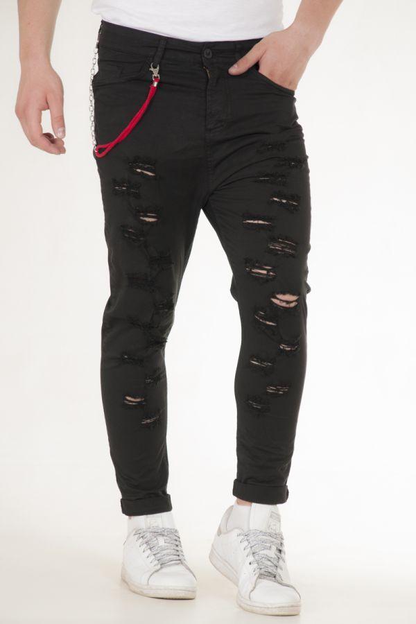 Παντελόνι υφασμάτινο πεντάτσεπο με σχισίματα μπροστά σε μαύρο αντρικό akiro