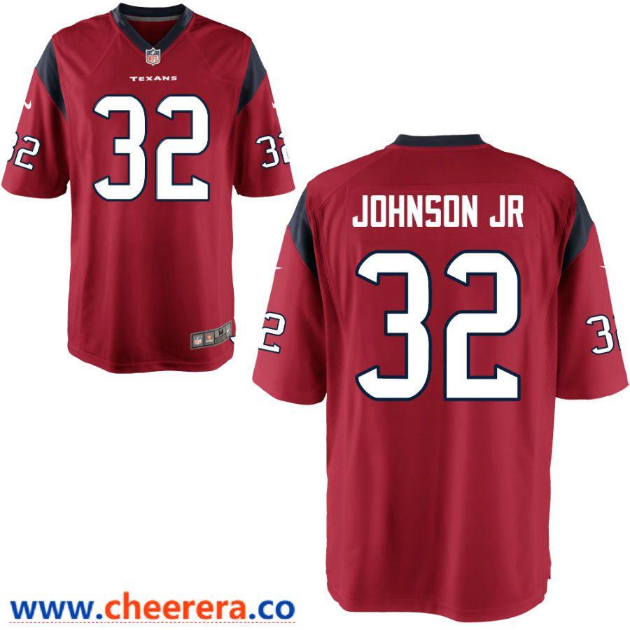Men's Houston Texans #32 Lonnie Johnson Jr Red Stitched NFL Nike ...
