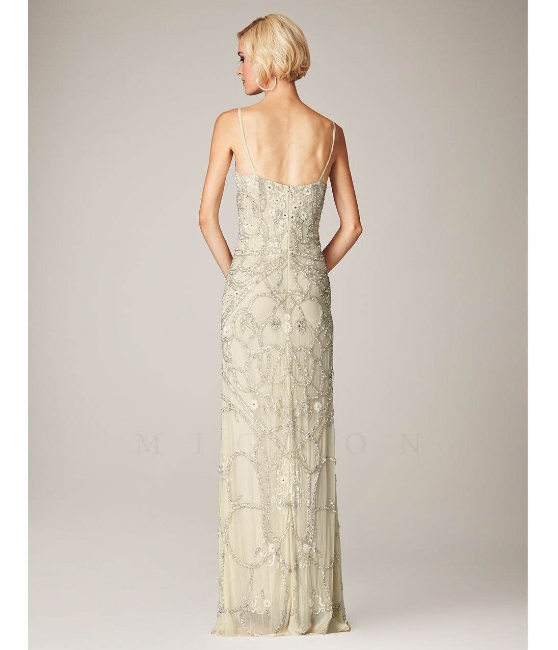 1930s style wedding dresses  Vanilla Beaded Spaghetti Strap Evening Gown  Putting the cart