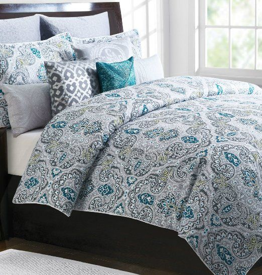 Tahari Home King Duvet Cover Set Gray Teal Blue Olive Green Floral