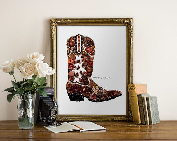 Button Art Cowboy Boot Cowgirl Southwestern By BellePapiers