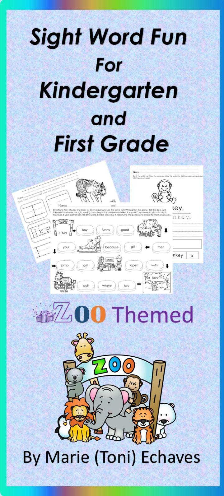 Sight Word Fun for Kindergarten and First Grade Zoo Animals | Word ...